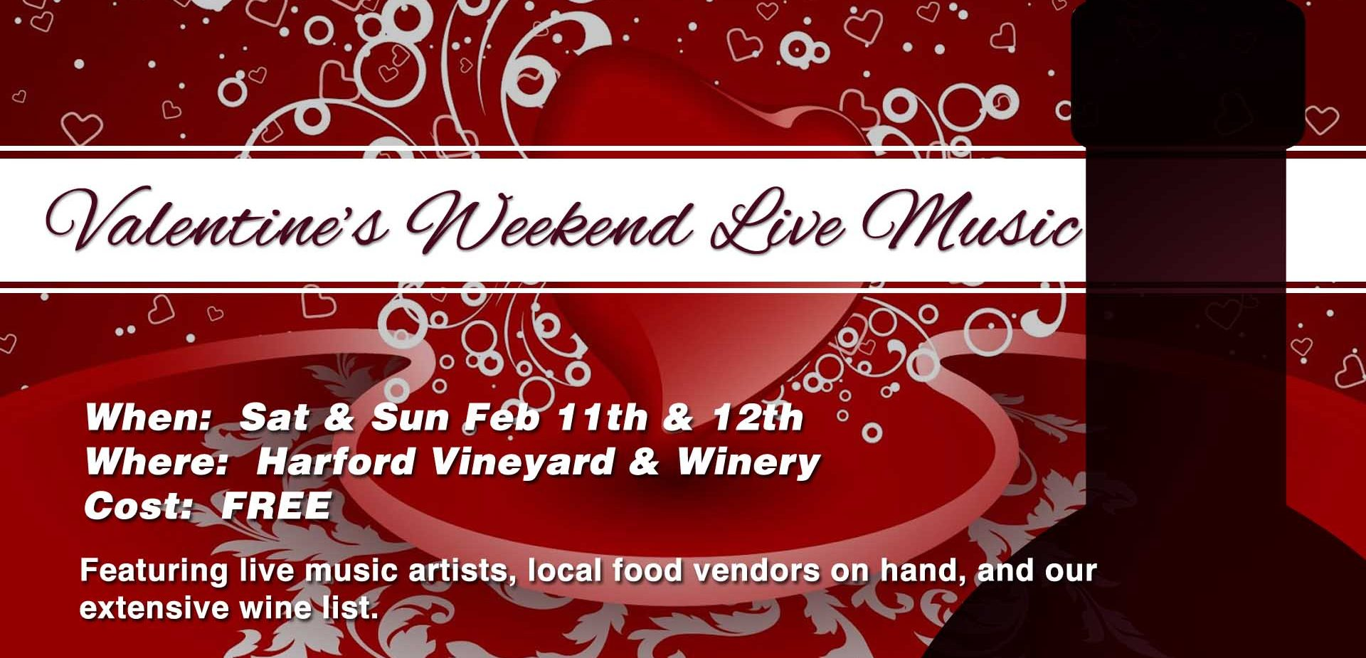 Valentines Day Weekend Music at Harford Vineyard